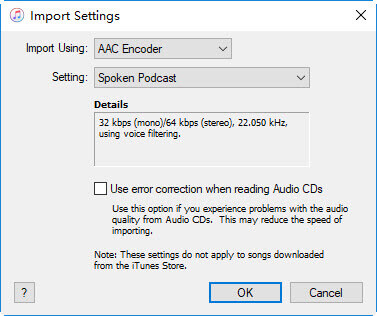 select the aac encoder