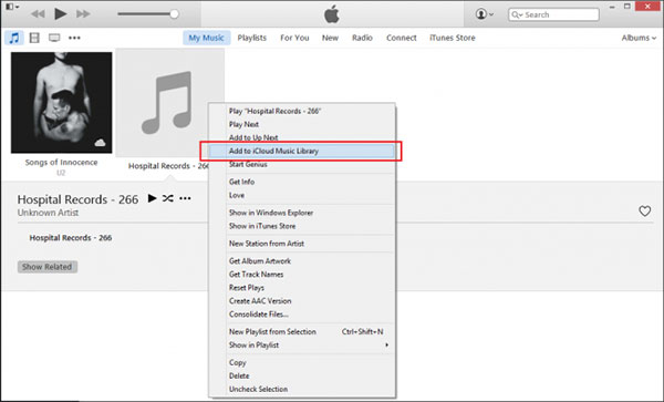 add songs to icloud music library