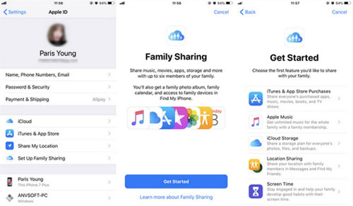 how to set up apple music family sharing