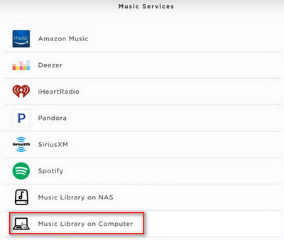 choose music library on bose soundtouch app
