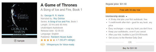 buy a game of thrones audiobook