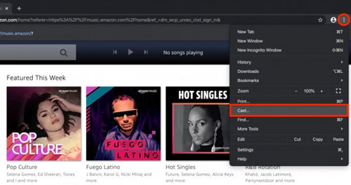 cast amazon music to google home on computer