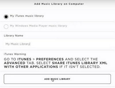 select music library from iTunes or wmp on soundtouch app