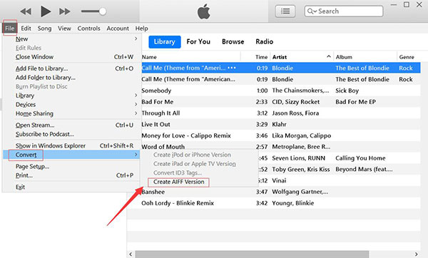 convert songs to aiff with itunes