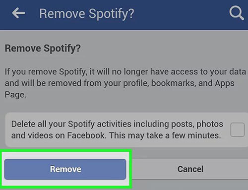 deactivate spotify from facebook