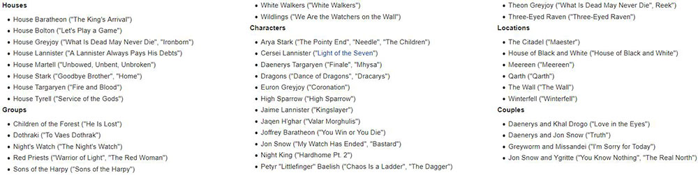 game of thrones music complete list
