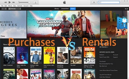 itunes rentals vs purchases