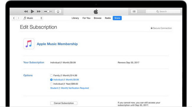 itunes stop apple music subscription