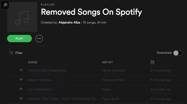 spotify saved songs disappeared