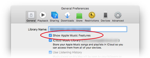 check show apple music features preference in itunes