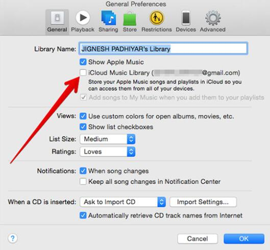 turn on icloud music library