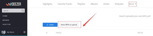 upload mp3 to deezer