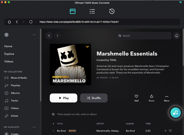 load tidal audios to drmare mac
